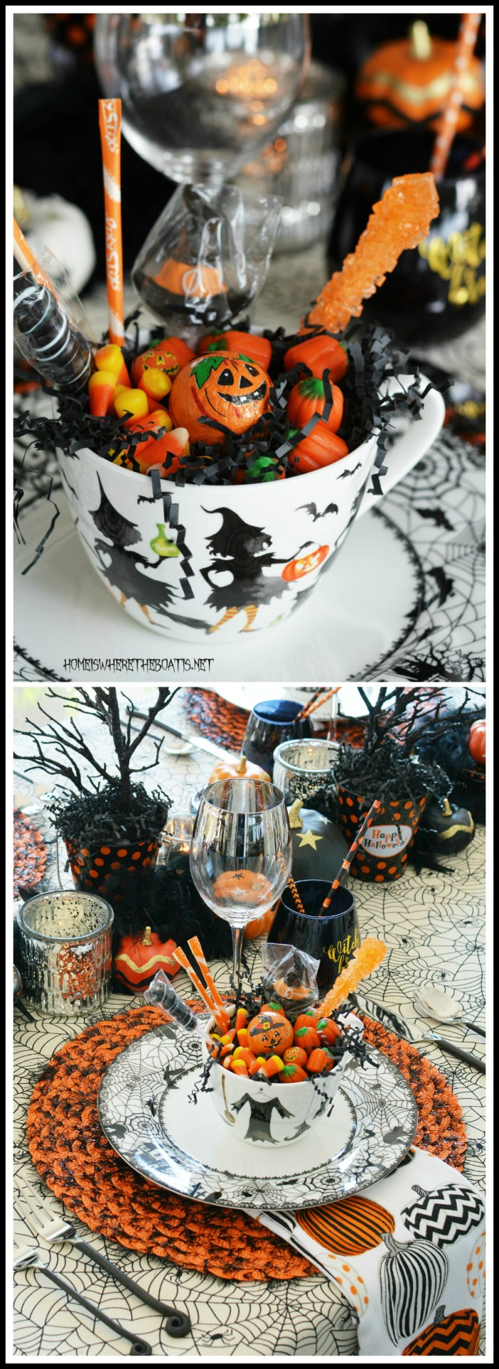 Black Hat Society Halloween Table | ©homeiswheretheboatis.net #witch #tablescape #Halloween #tablesetting