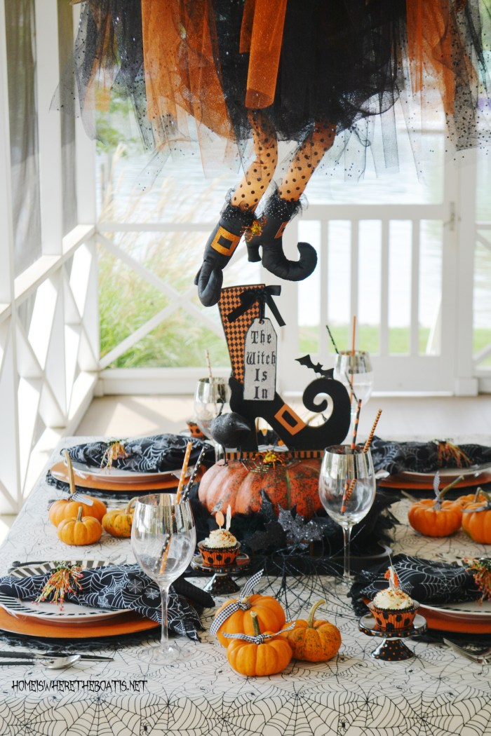 The Witch Is In: Floating Witch Halloween Tablescape | ©homeiswheretheboatis.net #Halloween #witch #tablescape #tablesetting