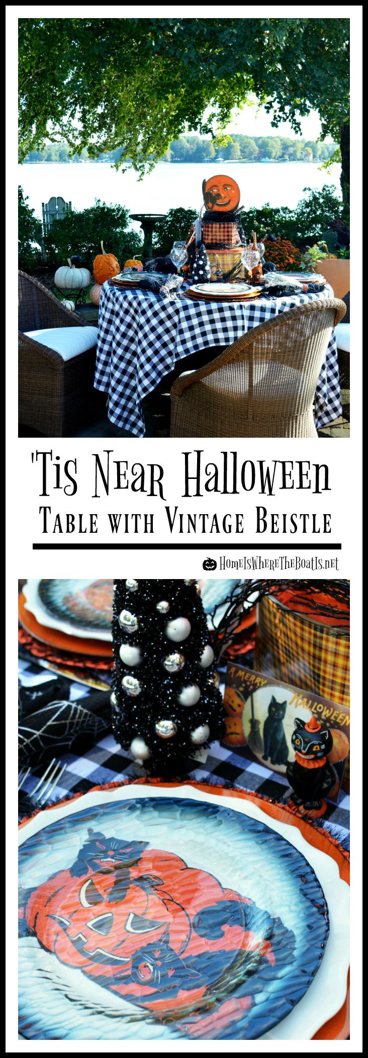 Vintage Beistle Halloween Table | ©homeiswheretheboatis.net #Halloween #Beistle #tablescape #alfresco