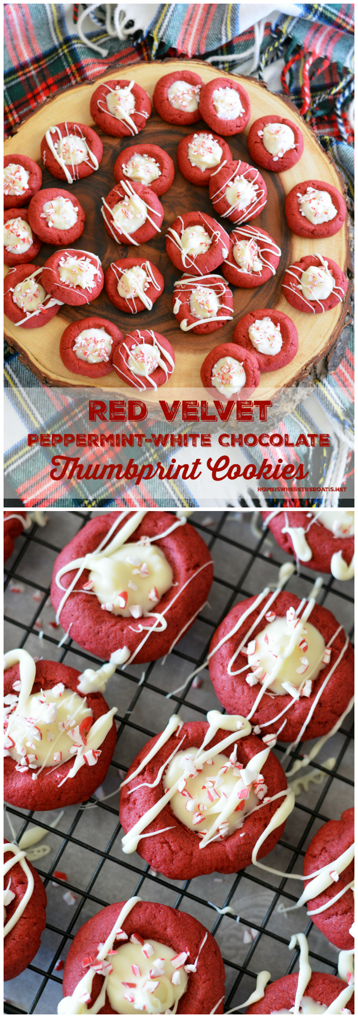 Red Velvet Peppermint-White Chocolate Thumbprints | ©homeiswheretheboatis.net #cookies #recipes