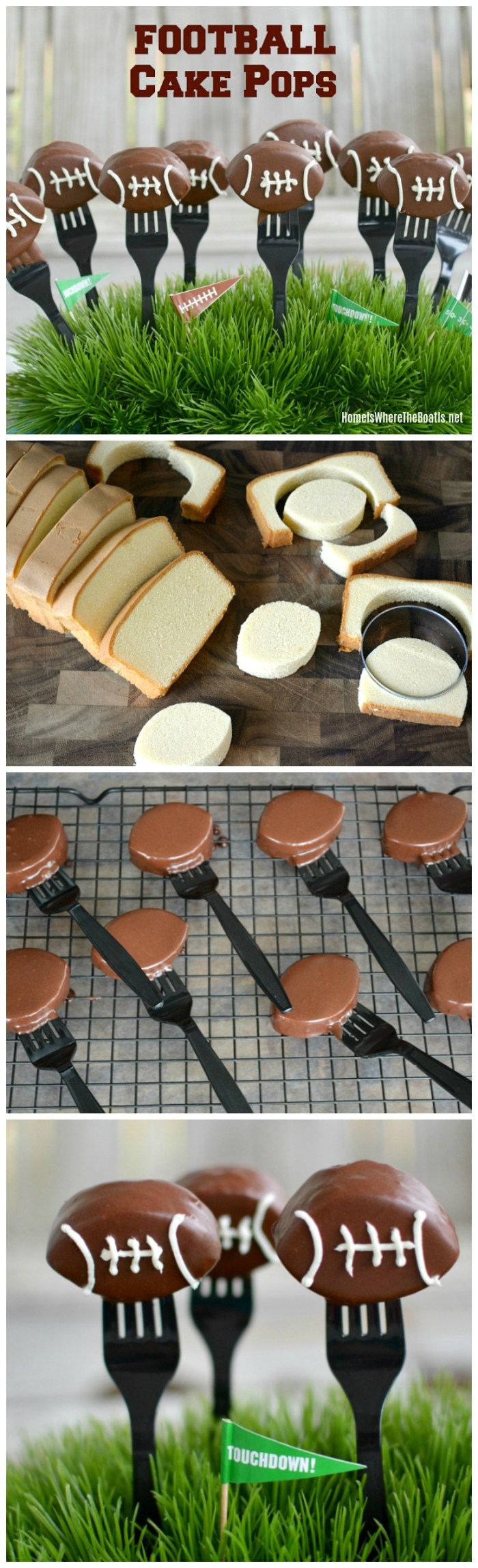 Football Cake Pops! A sweet ending to your game day line of football food! | ©homeiswheretheboatis.net #footballfood #dessert #cakepop #gameday #superbowl