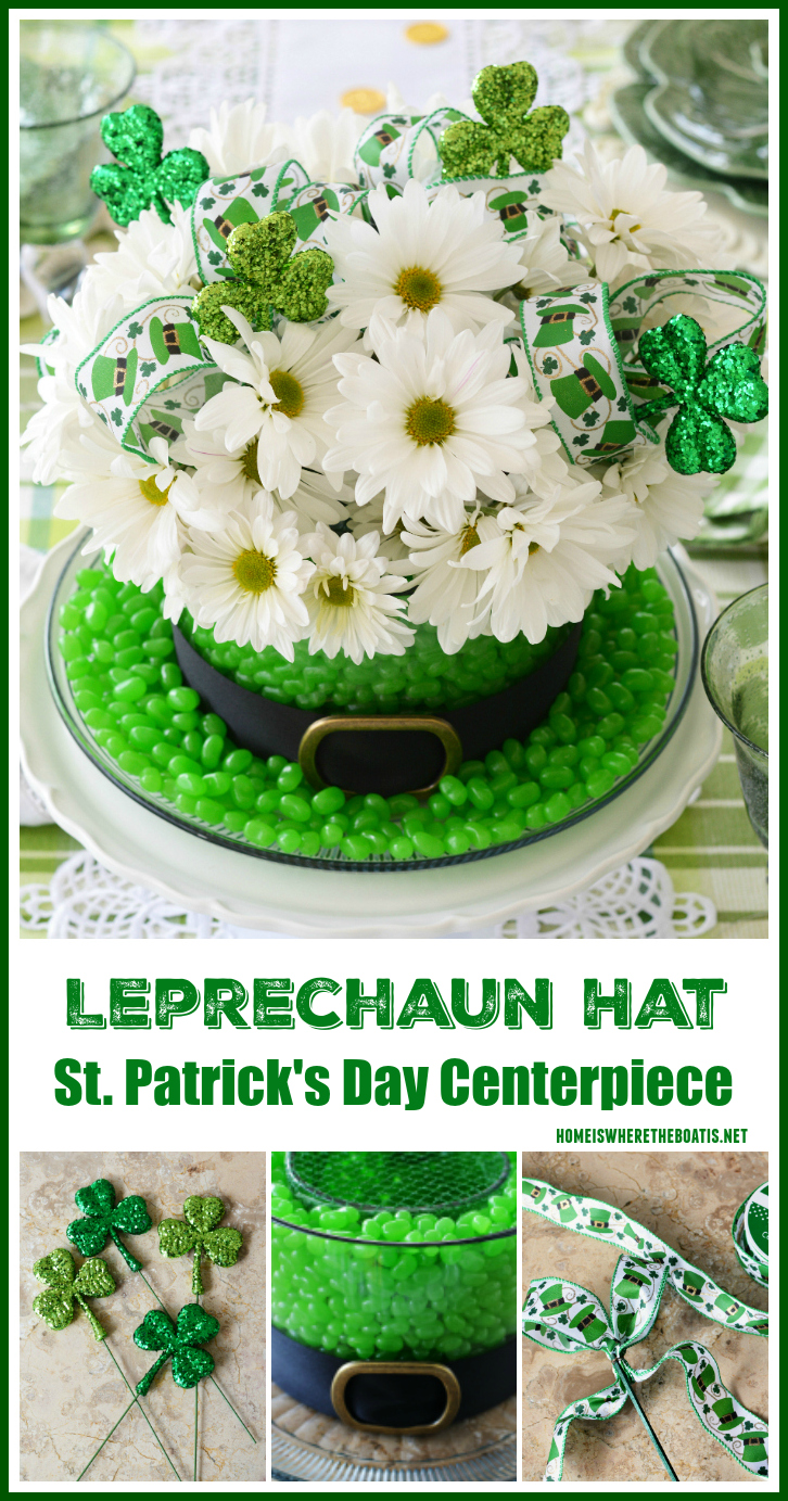 Leprechaun Hat Centerpiece DIY for St. Patrick's Day using candy and flowers | ©homeiswheretheboatis.net #StPatricksDay #centerpiece #DIY #leprechaunhat #tablescapes #Irish