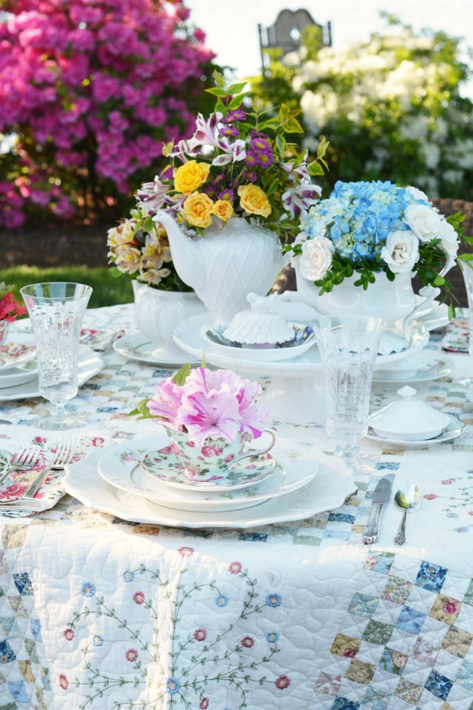 Teapot Bouquets and Lakeside Table by the Azaleas   ©homeiswheretheboatis.net #tablescape #tea #flowers #spring #lake