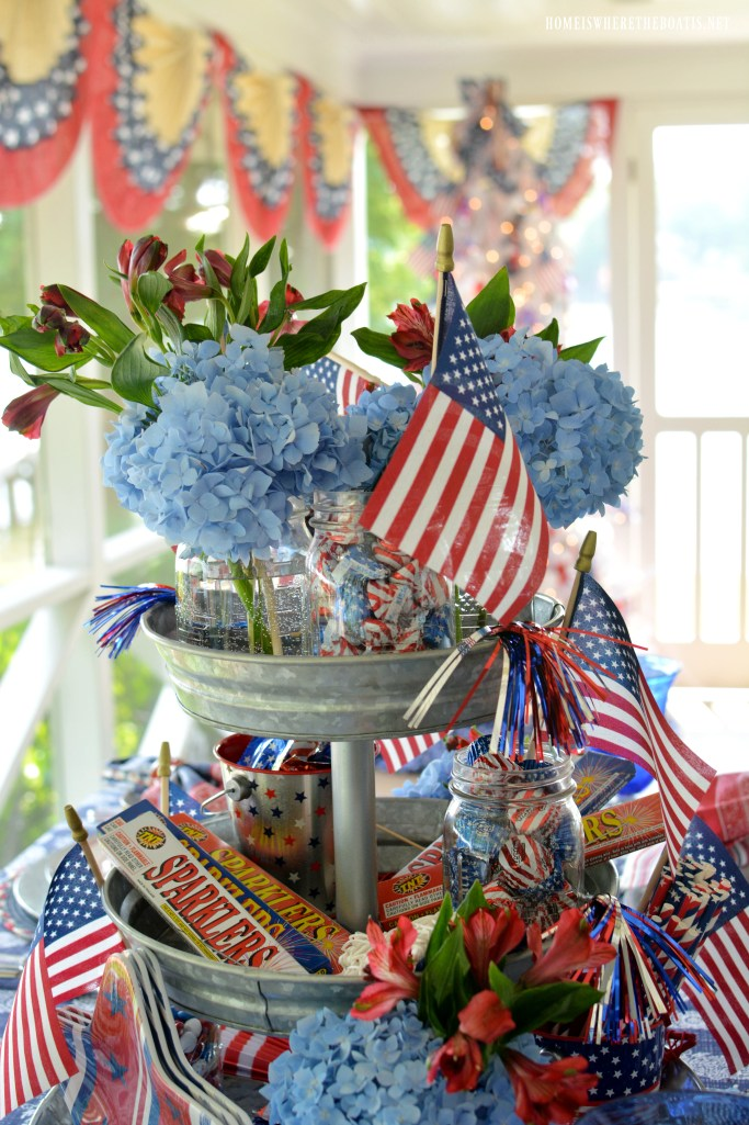Tiered server centerpiece to celebrate the Red, White and Blue | ©homeiswheretheboatis.net #redwhiteandblue #patriotic #tablescapes #centerpiece