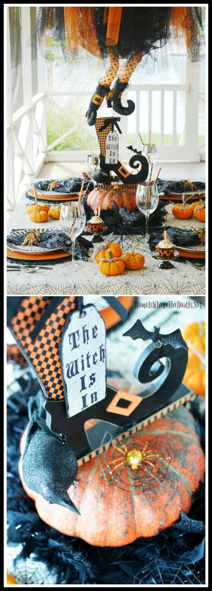 The Witch Is In: Floating Witch Halloween Tablescape | ©homeiswheretheboatis.net #Halloween #witch #tablescapes