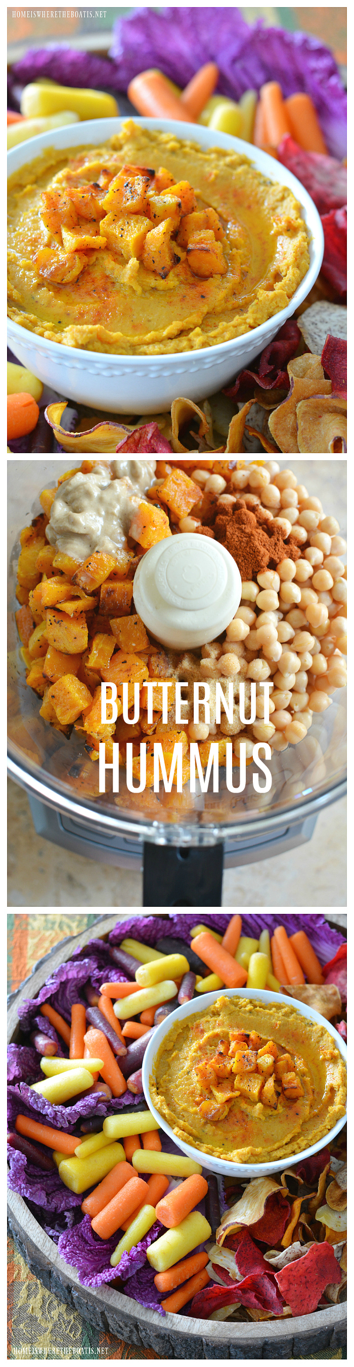 Butternut Hummus! Easy, oh so good, and healthy too! | ©homeiswheretheboatis.net #recipe #fall #appetizer