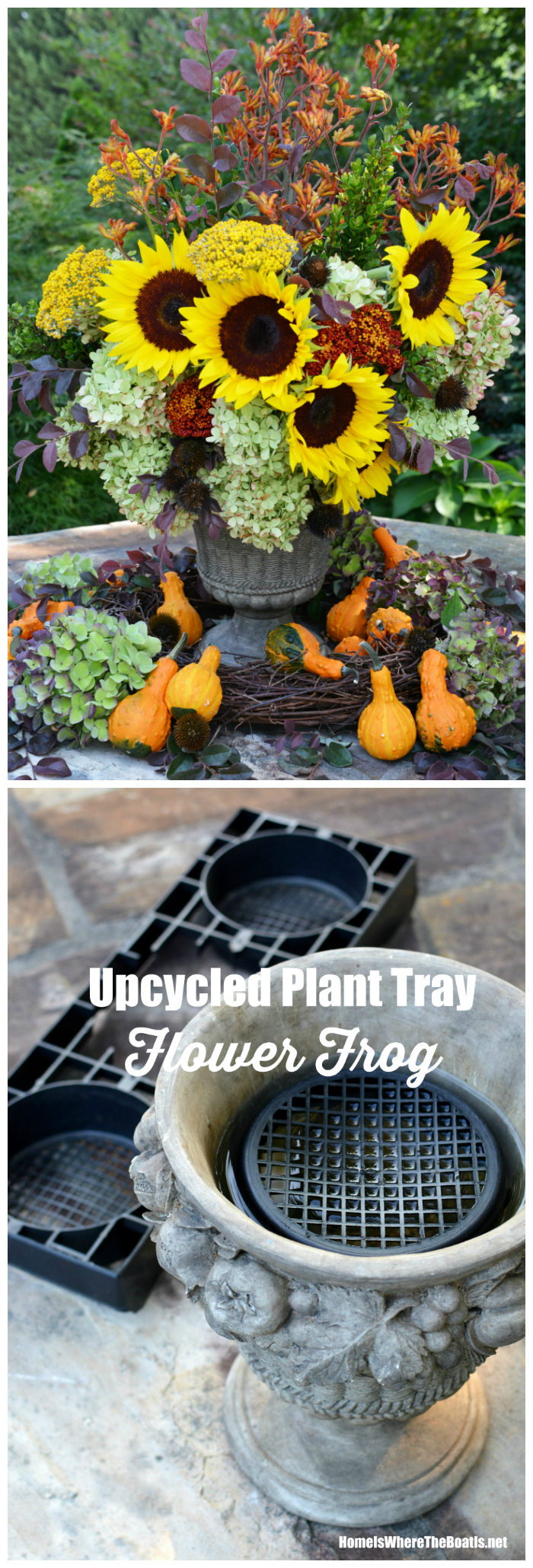 Flower Arranging Hack: Garden Center Plant Tray repurposed as a Flower Frog for easy flower arranging! | ©homeiswhereboatis.net #hack #flowerarranging #upcycle #fall #arrangement #sunflowers #hydrangeas