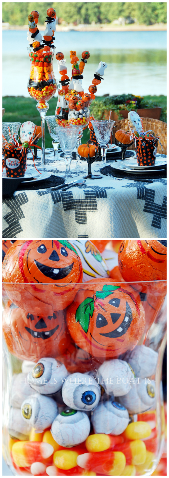 Halloween Treats Tablescape | ©homeiswheretheboatis.net #Halloween #tablescape #alfresco #lake