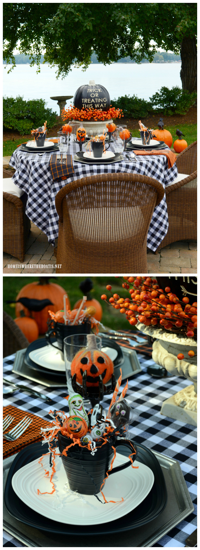 This Way to Trick or Treating Halloween Table | ©homeiswheretheboatis.net #alfresco #Halloween #tablescape