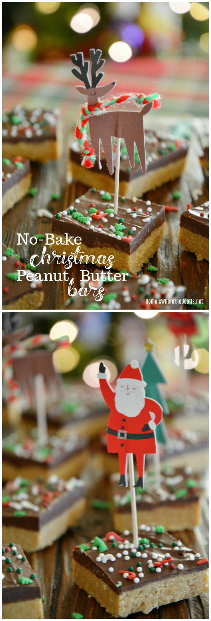 An Easy No-Bake Treat: Christmas Peanut Butter Bars | ©homeiswheretheboatis.net #christmas #easy #nobake #recipes