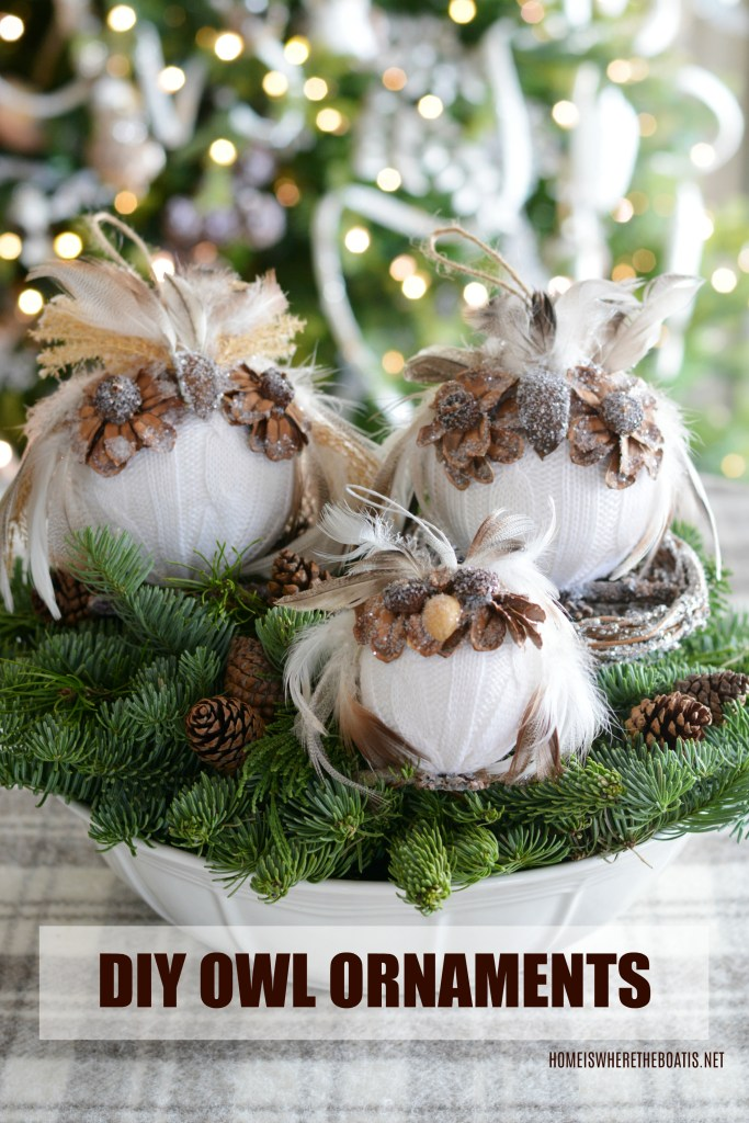 DIY Owl Ornaments: A Hoot to Make! | ©homeiswheretheboatis.net #owl #ornaments #DIY #winter #Christmas