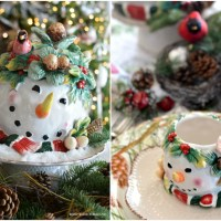 Winter Nesting Table with Cardinals and Snowmen