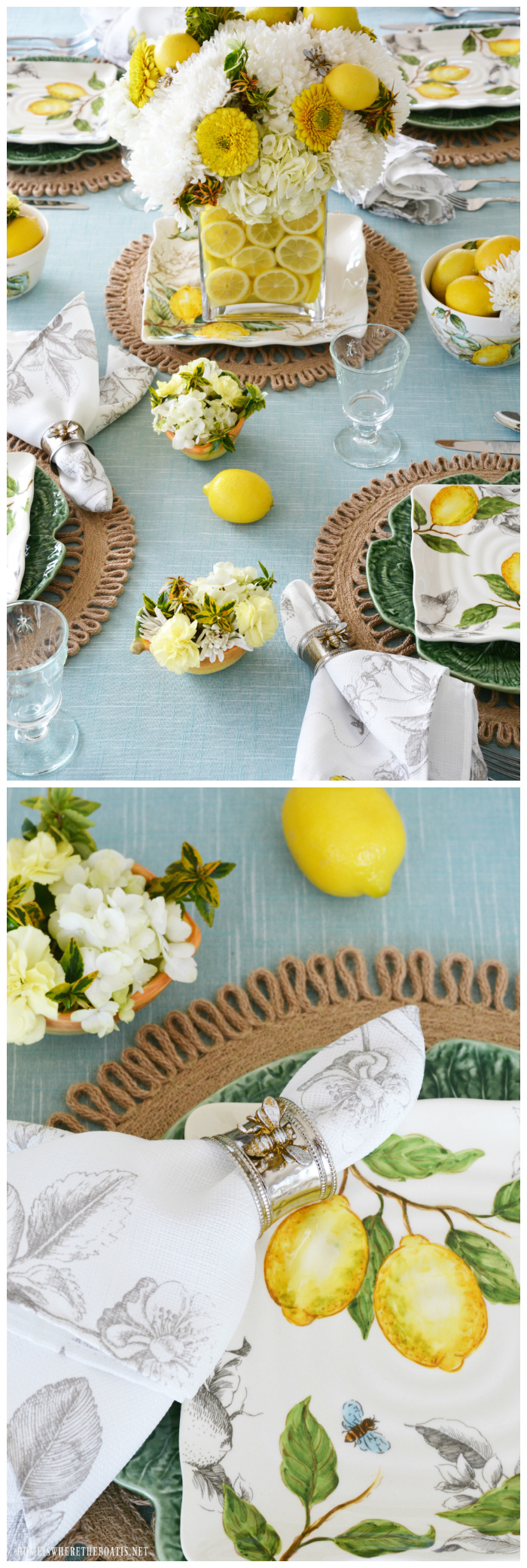 Create a flower arrangement and centerpiece for your table using lemons. This easy tutorial provides a little sunshine and interest to your glass vase, and is a fun and decorative way to conceal your flower stems!