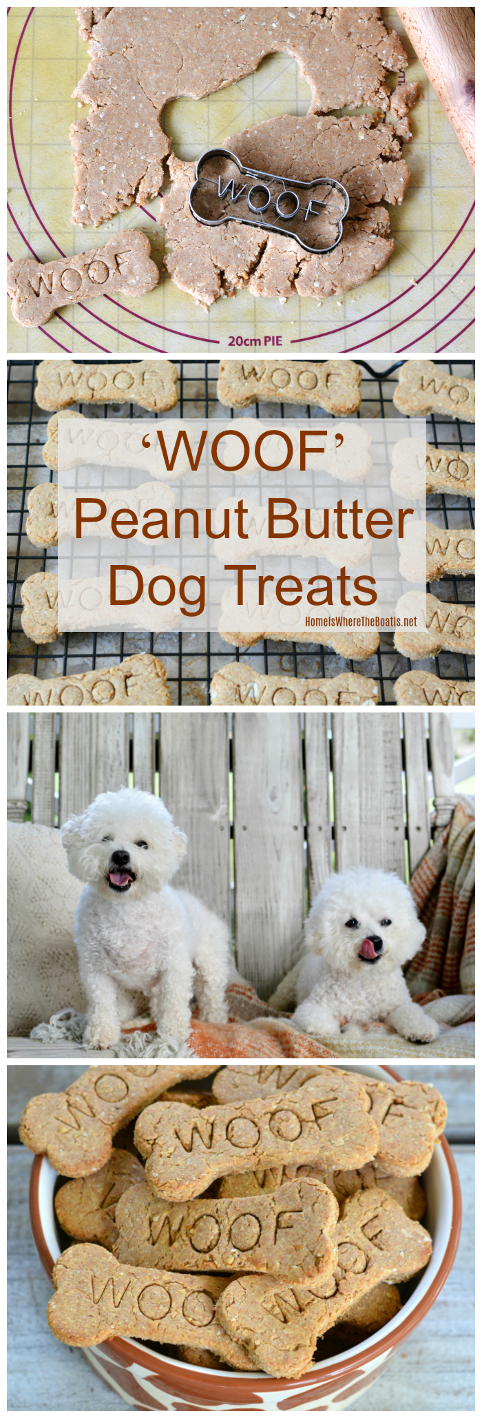 WOOF Homemade Peanut Butter Dog Treats Recipe | homeiswheretheboatis.net #NationalDogDay #BichonFrise #dogtreats #recipe #dogs