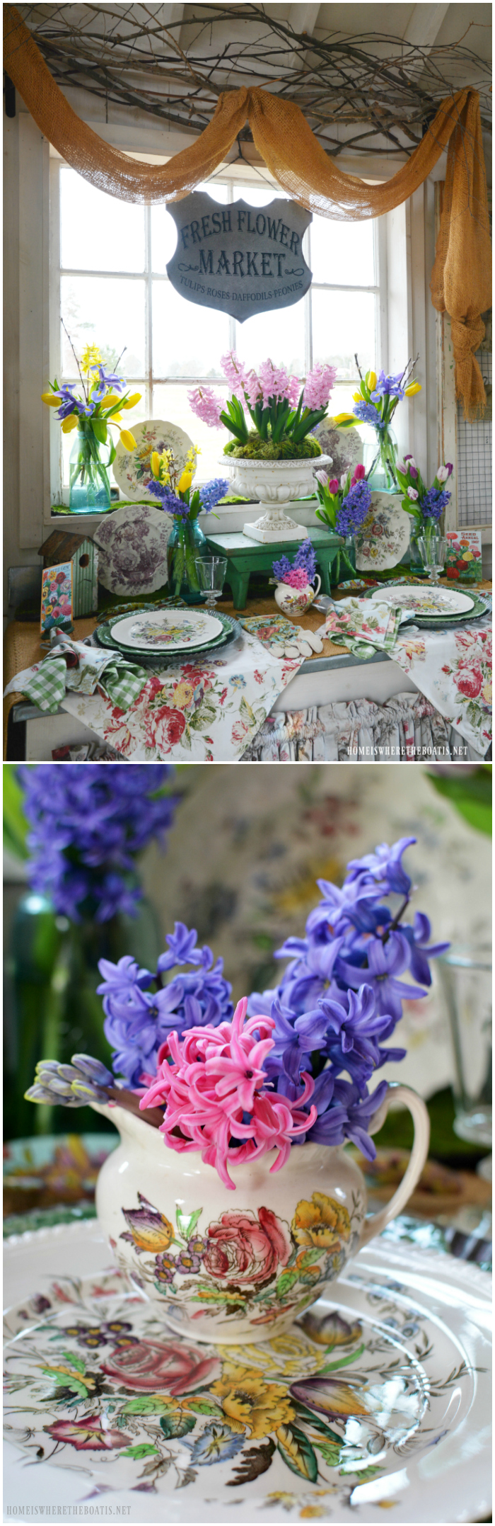 Fresh Flower Market: Spring Blooms in the Potting Shed | ©homeiswheretheboatis.net #garden #flowers #spring #tablescapes