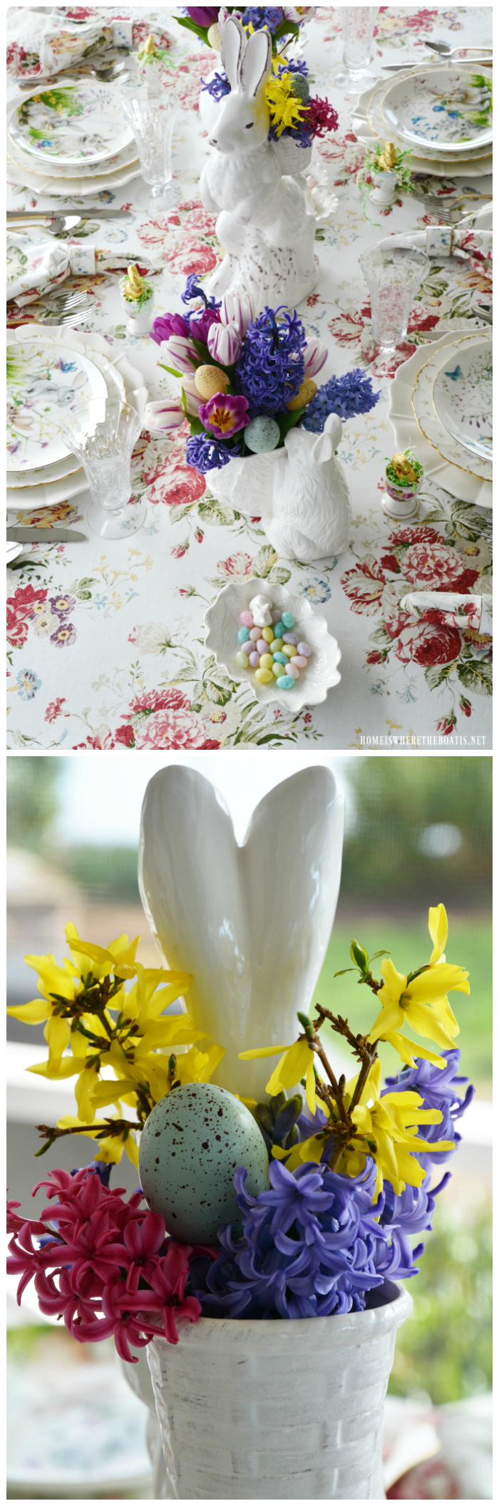 Floral Meadow Easter Table and Blooming Bunnies | ©homeiswheretheboatis.net