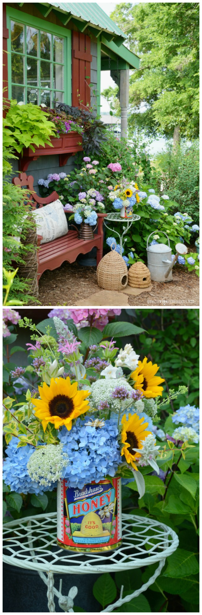 Garden flower arrangement using a vintage honey can as a vase | ©homeiswheretheboatis.net #garden #flowers #arrangement #upcycle #bees #gardenshed