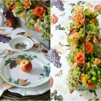 DIY Summer Fruit and Flower Arrangement + Tablescape