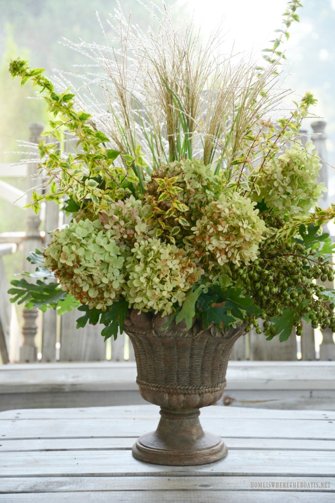 Early Shades of Fall arrangement with hydrangeas, foliage and grasses | ©homeiswheretheboatis.net #fall #flowers #arrangement #hydrangeas