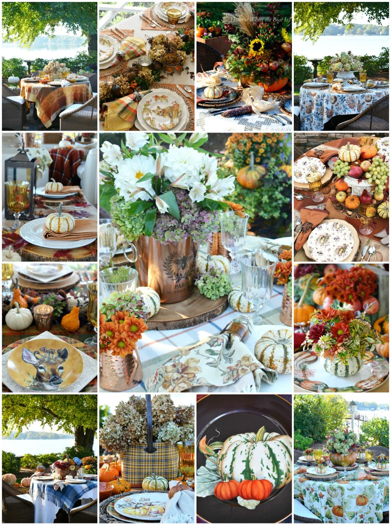 A Harvest of Fall Tablescapes and Inspiration | ©homeiswheretheboatis.net #fall #tablescapes #alfresco #plaid #pumpkins #flowers
