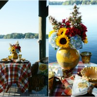Dining with Sunflowers on the Dock