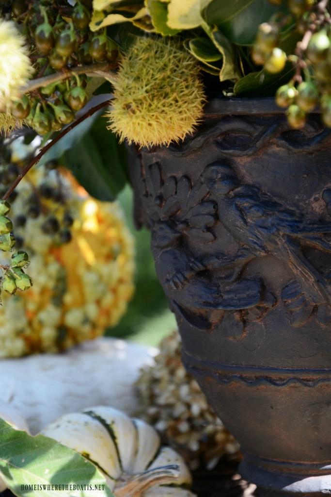 Fall arrangement in bird urn | ©homeiswheretheboatis.net #fall #arrangement