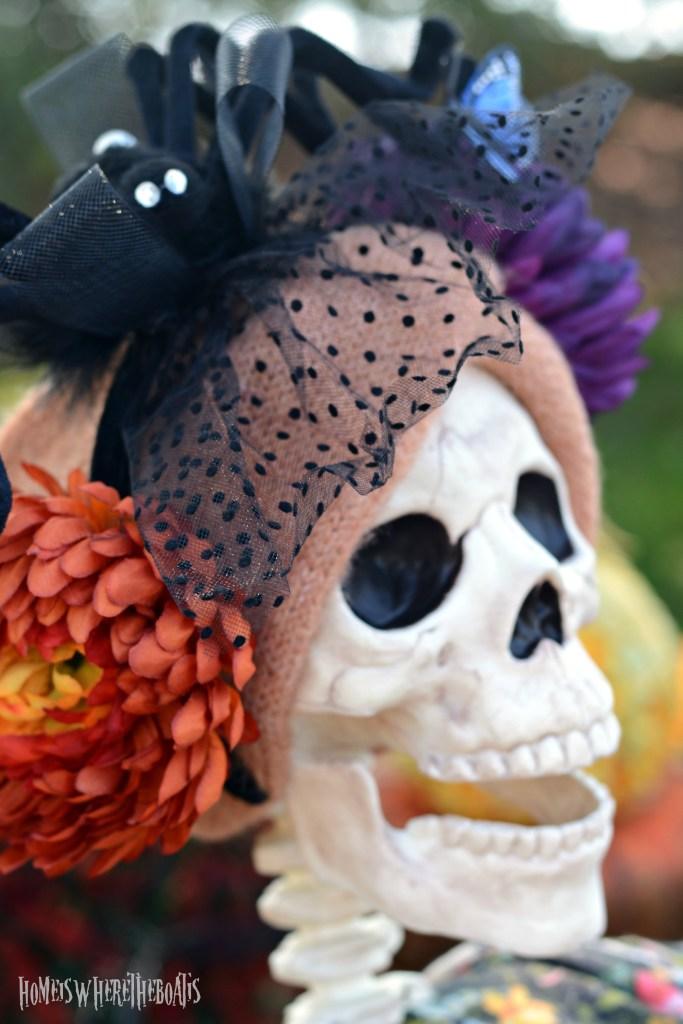 Hawthorne Gardens Wicked Beautiful Flowers Tablescape + Rib Tickling Fun | ©homeiswheretheboatis.net #halloween #tablescapes #skeleton #garden