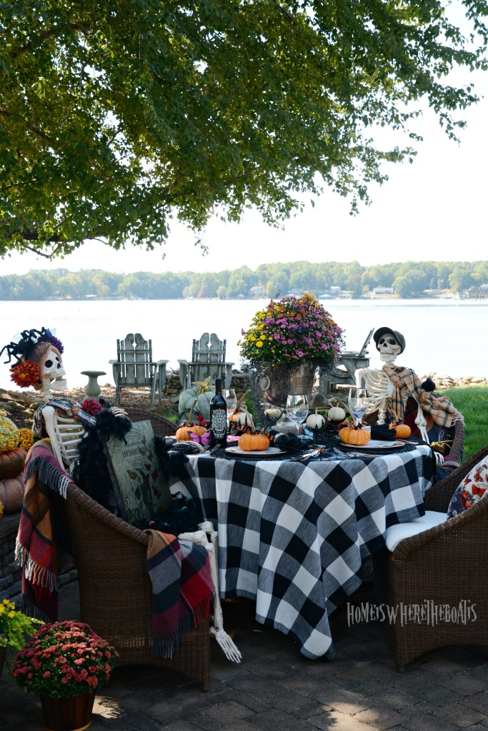 Hawthorne Gardens Wicked Beautiful Flowers Tablescape + Rib Tickling Fun | ©homeiswheretheboatis.net #halloween #tablescapes #skeleton #garden #alfresco #lake