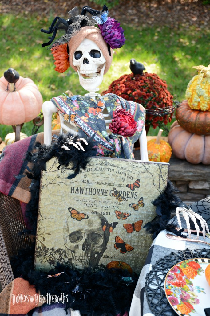 Hawthorne Gardens Wicked Beautiful Flowers Tablescape + Rib Tickling Fun | ©homeiswheretheboatis.net #halloween #tablescapes #skeleton #garden