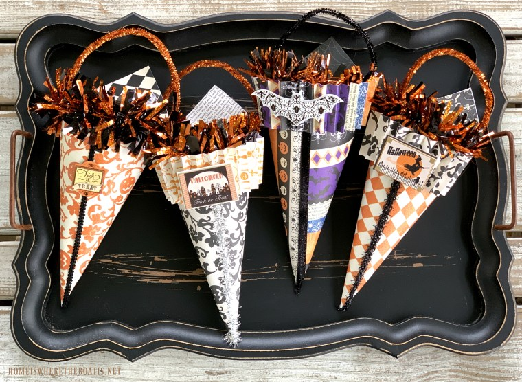DIY Halloween Treat Cones | ©homeiswheretheboatis.net #halloween #DIY #treats