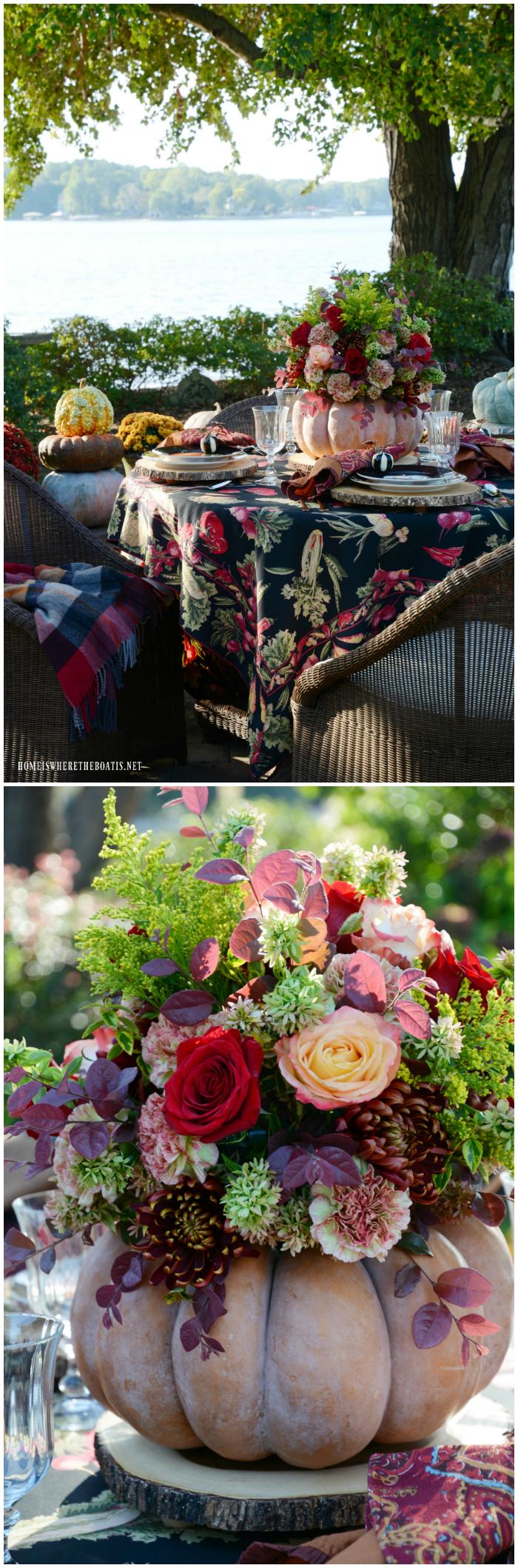 DIY Blooming Pumpkin the EASY Way and Autumn Table | ©homeiswheretheboatis.net #pumpkinvase #flowers #fall #centerpiece #pumpkin | ©homeiswheretheboatis.net #fall #tablescapes #centerpiece #alfresco #pumpkin #lake
