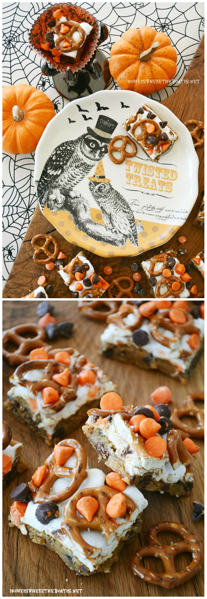 Twisted Treats, aka Pretzel S'mores Chocolate Chip CookieBars | ©homeiswheretheboatis.net #halloween #halloween #smores #recipes