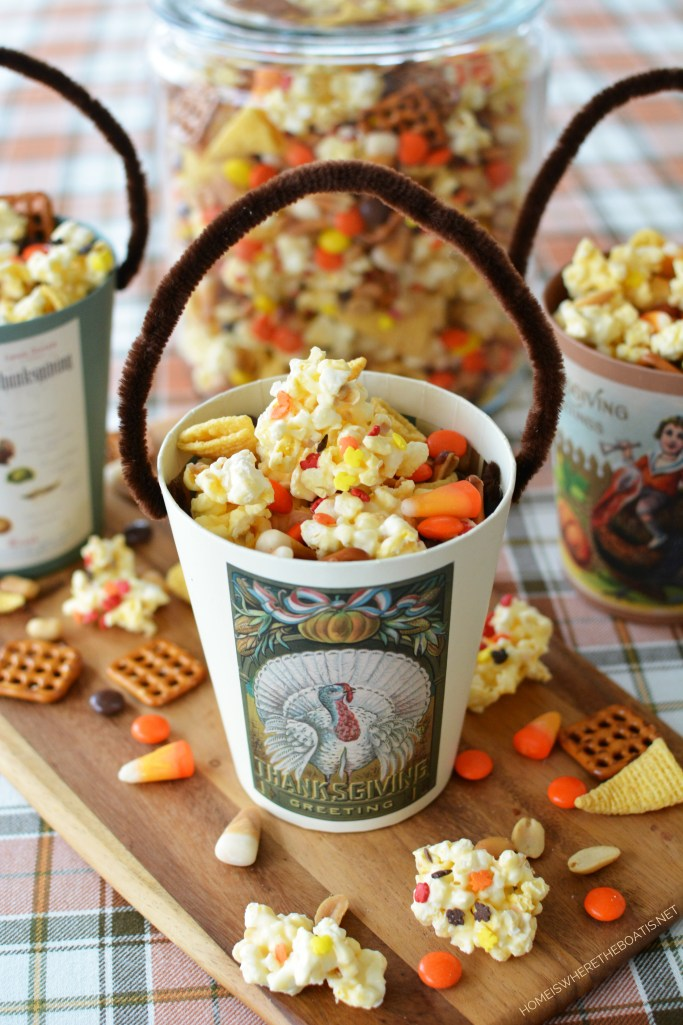 Cornucopia Popcorn Snack Mix A sweet and salty treat, great for snacking and sure to satisfy hungry pilgrims,  football fans, or tree-trimmers over Thanksgiving weekend!