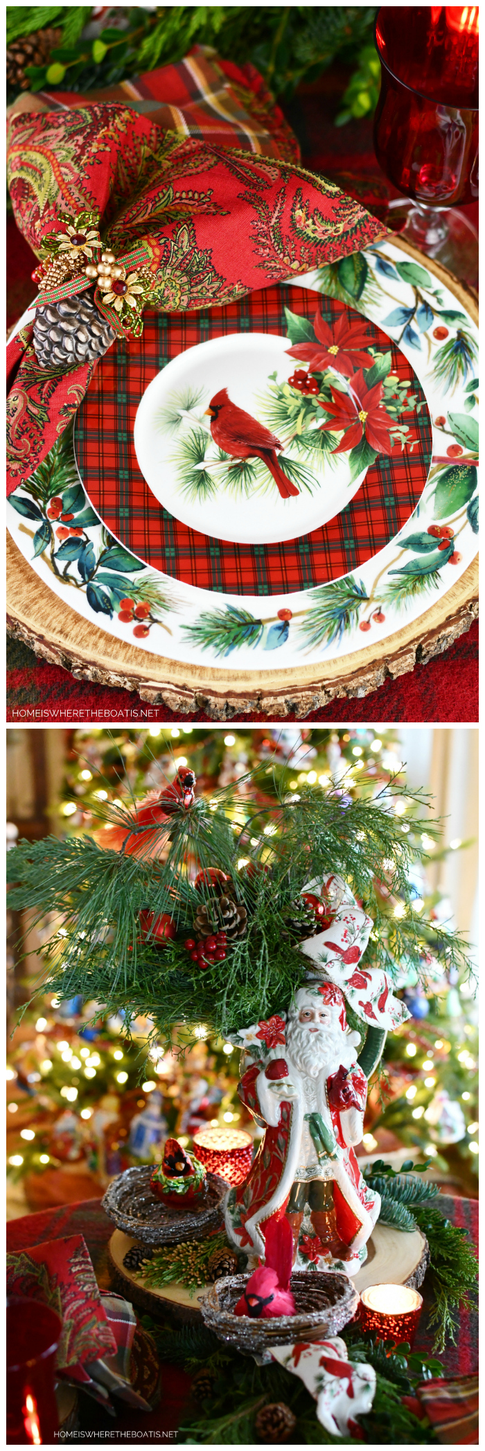 Cardinal Christmas Santa tablescape with greenery, pine cones and Cardinal ornaments | ©homeiswheretheboatis.net #Christmas #tablescapes #Santa #birds #tartan #plaid