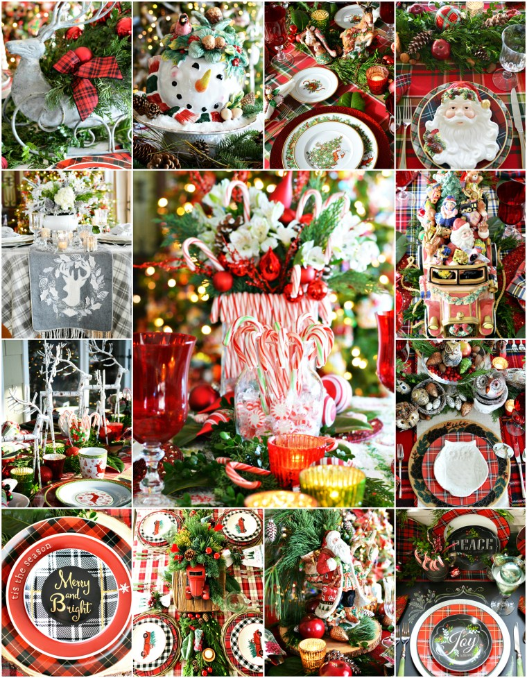 'Tis the Season Christmas Tablescapes, centerpieces and inspiration | ©homeiswheretheboatis.net #Christmas #tablescapes #Centerpieces #tartan #plaid