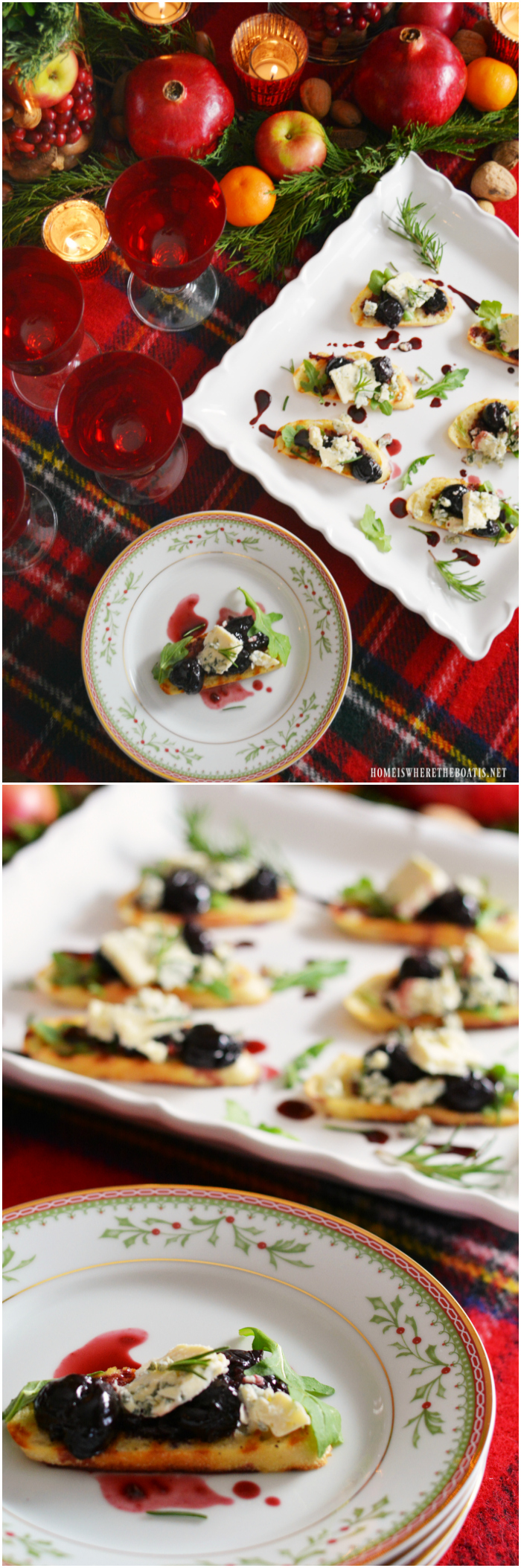 Honey-Rosemary Cherries and Blue Cheese Crostini! | ©homeiswheretheboatis.net #recipes #party #appetizer