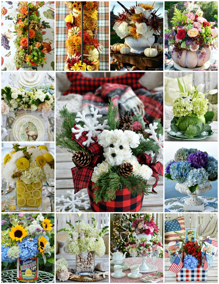 A year in flowers with a round up of DIY monthly floral arrangements and seasonal centerpiece inspiration. You'll find flower longevity tips, short cuts and techniques to create affordable arrangements using grocery store and garden flowers.