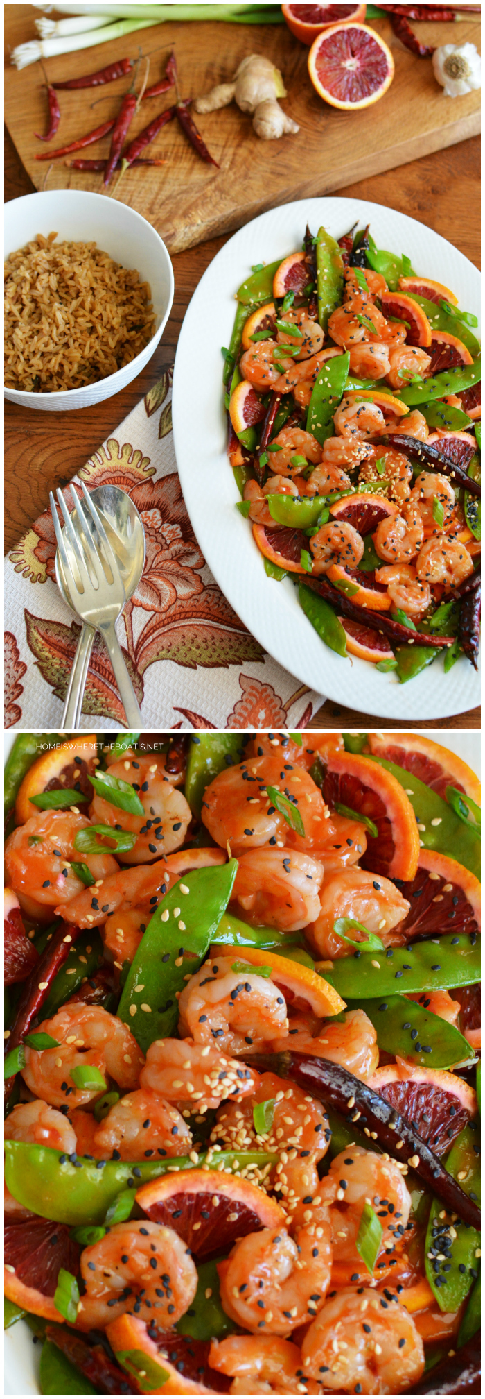 Blood Orange-Shrimp Stir-Fry for Chinese New Year | ©homeiswheretheboatis.net #recipes #newyear #healthy