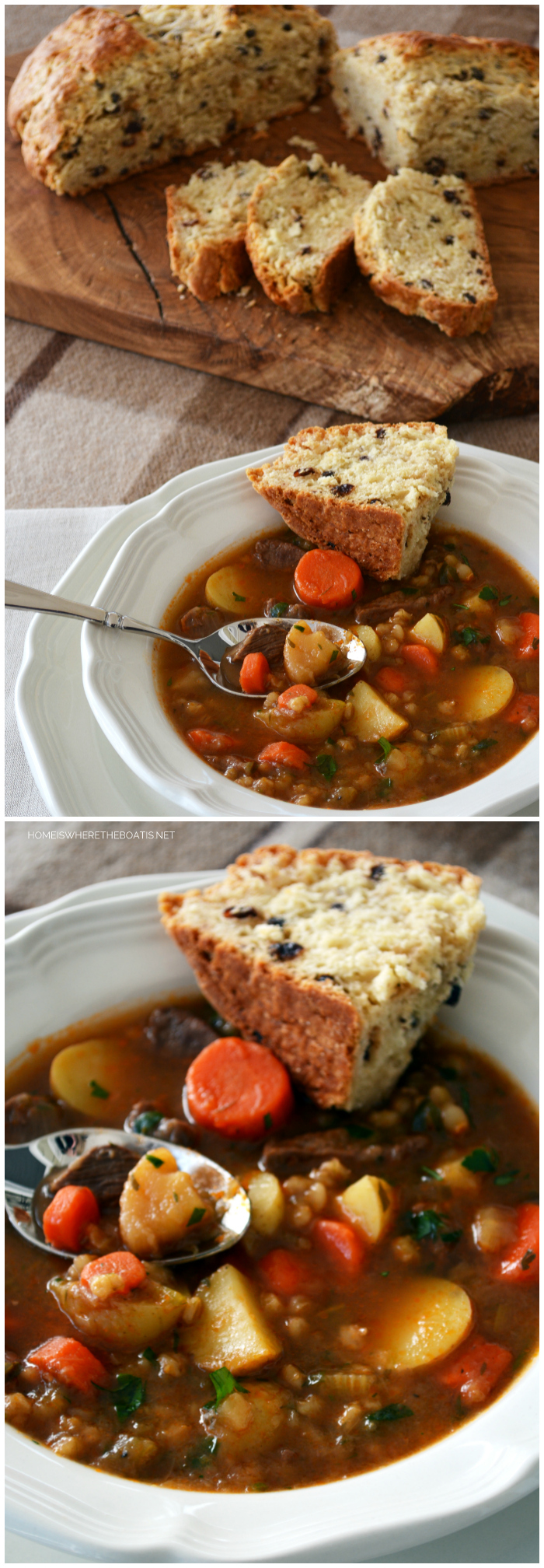 Irish Beef Stew with Irish Whiskey Soda Bread | ©homeiswheretheboatis.net #stpatricksday #recipe