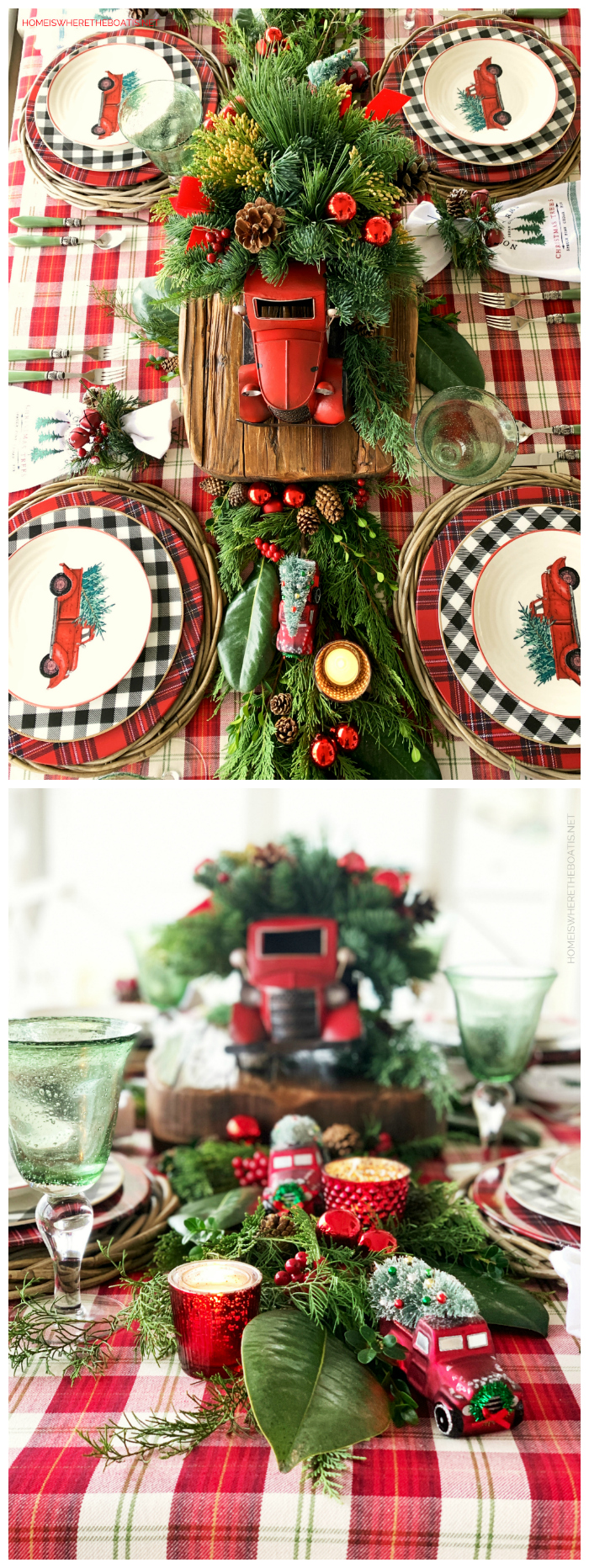Noel Farms Christmas Tablescape | ©homeiswheretheboatis.net #tablescapes #christmas #truck