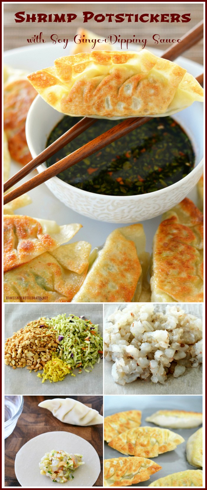 Shrimp Potstickers with Soy-Ginger Dipping Sauce | ©homeiswheretheboatis.net