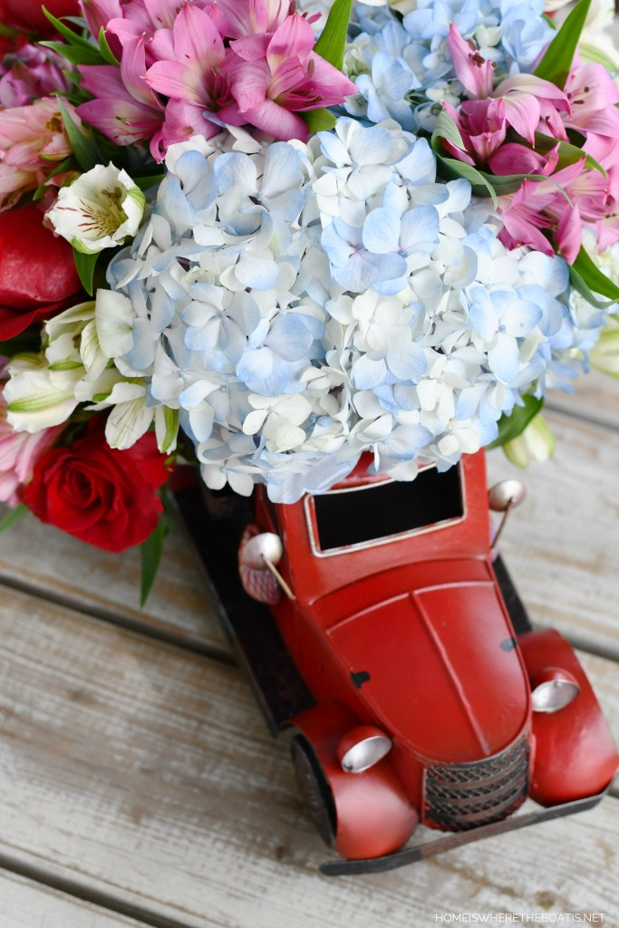 Red Truck Flower Arrangement | ©homeiswheretheboatis.net #flowers #valentinesday