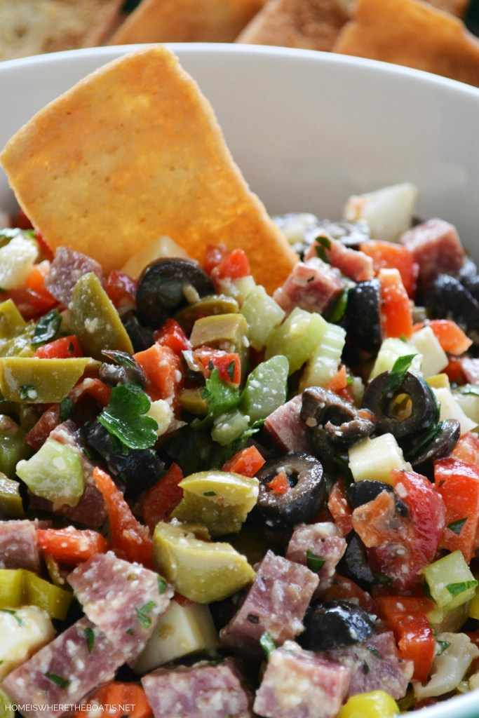 Muffuletta Dip for Mardi Gras | ©homeiswheretheboatis.net #mardigras #recipes #easy #dip
