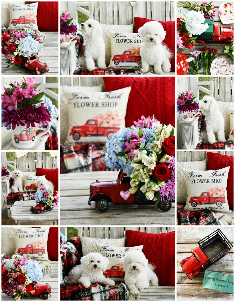 Farm Fresh Flower Shop Truck Flower Arrangement and Dogs on the Porch | ©homeiswheretheboatis.net #flowers #valentinesday
