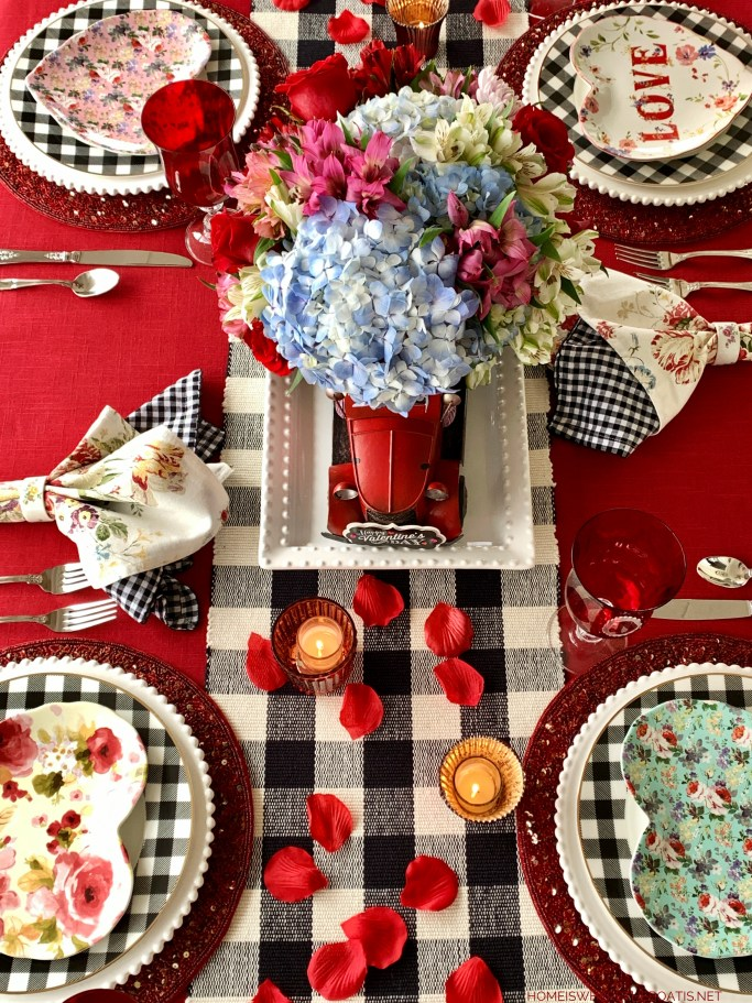 Special Delivery of Hearts and Flowers for Valentine's Day | ©homeiswheretheboatis.net #valentinesday #tablescapes #redtruck