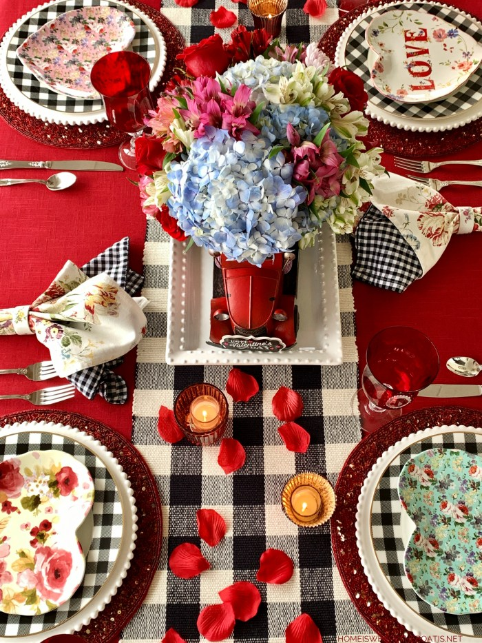 Special Delivery of Hearts and Flowers for Valentine's Day Red Truck Centerpiece | ©homeiswheretheboatis.net #tablescapes #valentinesday
