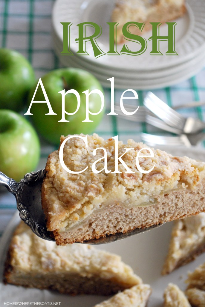 Irish Apple Cake for St. Patrick's Day | ©homeiswheretheboatis.net #stpatricksday #recipes #cake #apples