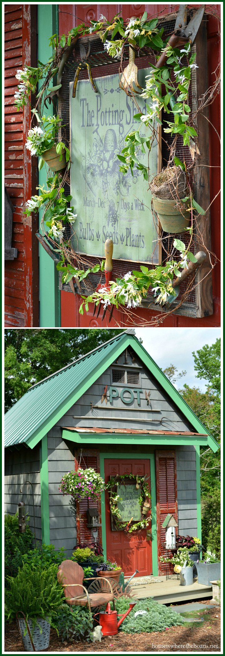 Potting Shed sign with wood frame with vintage garden tools and honeysuckle vine | ©homeiswheretheboatis.net #shed #sign #garden #DIY
