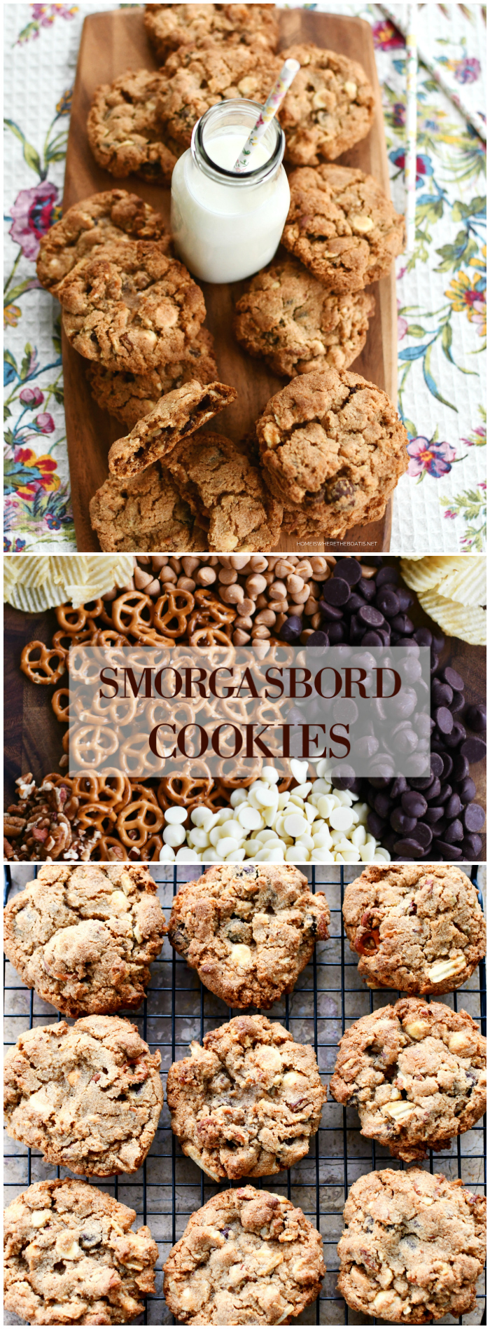 Chewy, Chunky, Sweet +Salty Smorgasbord Cookies | ©homeiswheretheboatis.net #cookies #recipes