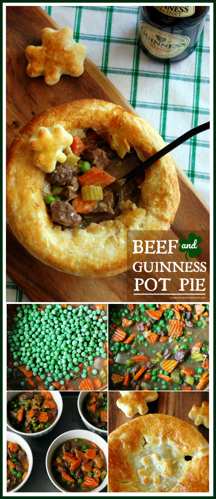 Beef and Guinness Pot Pie with puff pastry shamrocks | ©homeiswheretheboatis.net #stpatricksday #recipes #irish #guinness